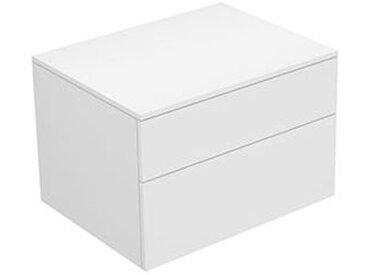Keuco Edition 400 Buffet 31743, 2 tiroirs, 700 x 472 x 535 mm, Corps/Avant: Vernis Strucktur blanc / Verre blanc givré - 31743270000