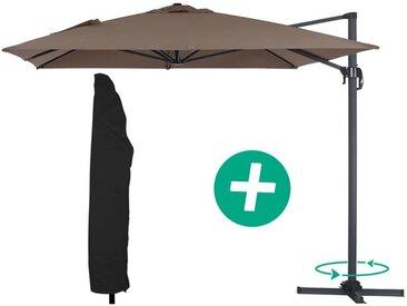 """Parasol jardin déporté Alu """"Sun 4"""" - Rectangle- 3 x 4 m - Taupe + Housse de protection"""