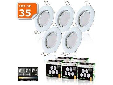 35 SPOTS LED DIMMABLE SANS VARIATEUR 7W eq.56w BLANC CHAUD FINITION BLANC