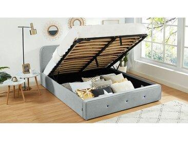 Lit coffre 160x200cm gris clair avec tête de lit + sommier à lattes - Collection Achille - Castelbajac