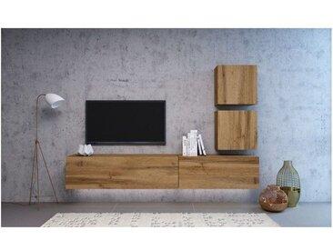 VIVIO | Ensemble meubles TV à suspendre | 4 éléments | Mur TV avec rangements | Unité murale style moderne | Aspect bois | Chêne - Chêne