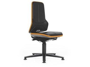 Si??ge d'atelier NEON avec patins, assise en mousse intégrale, noir/orange
