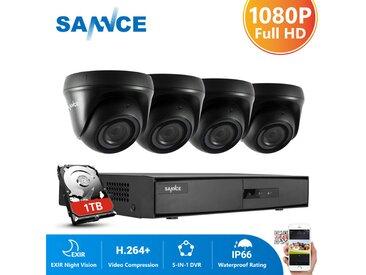 SANNCE Système de sécurité vidéo pour la maison 1080P avec DVR 1080N 4 canaux avec 4 caméras Style A – 1TB HDD