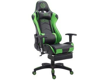 Fauteuil de bureau ergonomique dossier réglable avec repose-pieds simili-cuir noir/vert