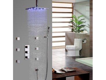 Système thermostatique de douche à l'italienne encastré au plafond en nickel brossé Vanne de douche thermostatique Barre de douche Avec LED 200 mm