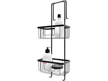 Schulte - Étagère de douche et salle de bain, à suspendre, 21 x 18 x 67 cm 2 paniers, accessoire en noir, organisateur étagère douche, meuble de rangement