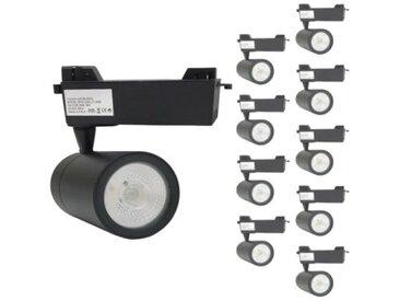 Spot LED sur Rail 30W 80° Monophasé NOIR (Pack de 10) - Blanc Chaud 2300K - 3500K