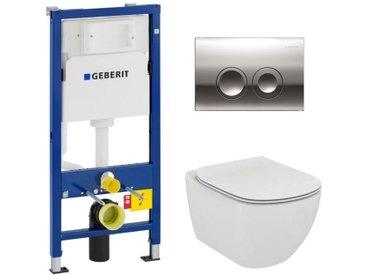 Geberit Pack WC Geberit duofix UP100 + Cuvette Ideal Standard Tesi Aquablade + Plaque de commande Delta21 chrome