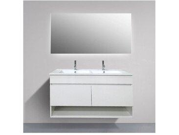 Meuble de salle de bain suspendue HERA avec miroir et double vasque 120 cm. Pas d'assemblage n?cessaire!