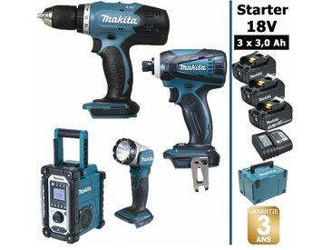 Pack Starter 18V: Perceuse 42Nm DDF453 + Visseuse à choc 160Nm DTD146 + Radio DMR107 + Lampe torche DEADML802 + 3 batteries 3Ah + Coffret Makpac MAKITA