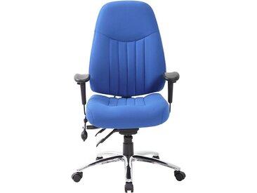 Chaise d'atelier pivotante Alpha - avec accoudoirs et habillage tissu, bleu - Coloris habillage: bleu