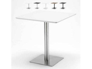 Table carrée 70x70 pour bars restaurants hôtels base centrale HORECA | Blanc - Acier
