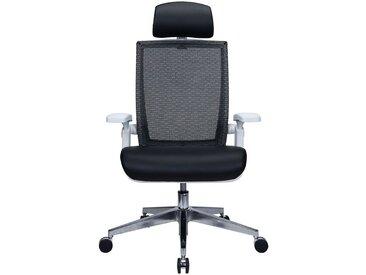 Chaise pivotante de bureau Traction - avec dossier respirant et appuie-tête, noir - Coloris: noir
