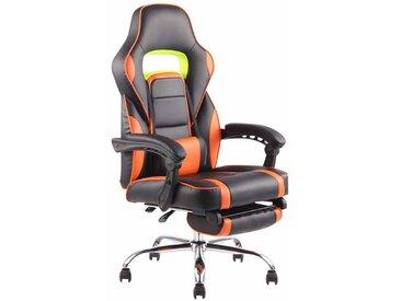 Fauteuil de bureau ergonomique avec repose-pieds extensible accoudoirs noir/orange
