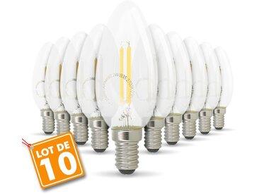 Lot de 10 ampoules filament E14 2.2W 250 Lumens | Température de Couleur: Blanc chaud 2700K