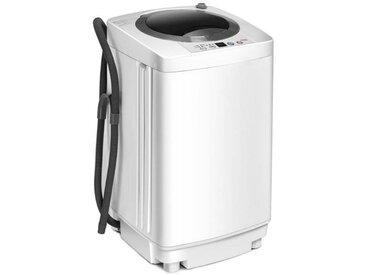 COSTWAY Lave Linge Mini Machine à Laver Automatique 240 W Capacité de Lavage 3,5kg avec Fonction de Déshydratation 43×43×75cm