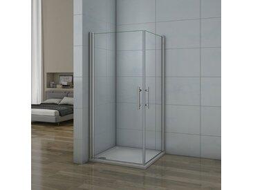 Porte de douche pivotante 80x70x187cm 2 portes de douche en verre anticalcaire cabine de douche pivotante