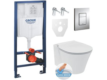 Grohe Pack WC Rapid SL GROHE + Cuvette Ideal Standard Connect Air + Plaque de commande Grohe Skate Chrome (GROHECONNECT-SET)