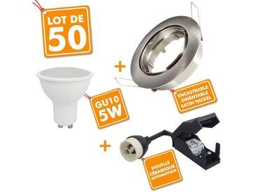 50 x Spot encastrable orientable Acier Brossé complet LED 5W eq 40W | Blanc neutre 4000K