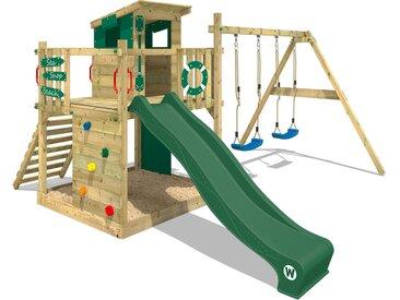 Aire de jeux bois WICKEY Smart Camp Aire de jeux avec toit incliné en bois et balançoire, vert