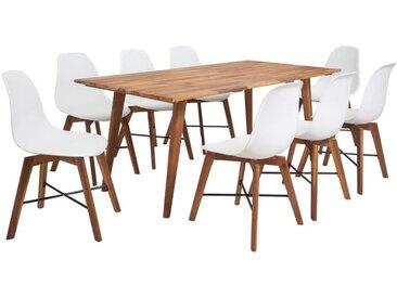 VDTD17184_FR Jeu de salle à manger 9 pièces en bois d'acacia massif blanc - Topdeal