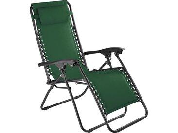 Chaise Longue de Jardin, Fauteuil de Jardin, Bain de Soleil Transat, Chaise de Camping Pliante 63 cm x 87,5 cm x 111 cm Vert