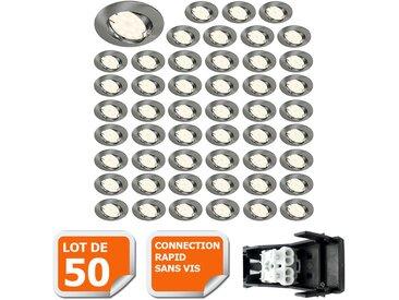 LOT DE 50 SPOT LED ENCASTRABLE COMPLETE ORIENTABLE ALU BROSSE AVEC AMPOULE GU10 230V eq. 50W, BLANC CHAUD
