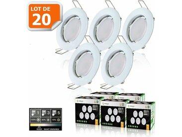 20 SPOTS LED DIMMABLE SANS VARIATEUR 7W eq.56w BLANC NEUTRE FINITION BLANC