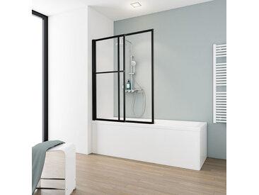 Schulte - Pare-baignoire rabattable et coulissant, 70 - 118 x 140 cm, paroi de baignoire extensible 2 volets style industriel, profilé noir, verre transparent 5 mm - Transparent