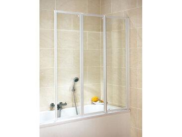 Schulte - Pare-baignoire rabattable, 127 x 140 cm, paroi de baignoire 3 volets, écran de baignoire pivotant, décor quattro, profilés blancs Décor quattro