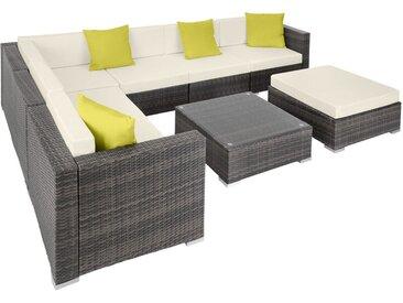 Tectake - Canapé de jardin MARBELLA modulable 7 places, variante 2 - table de jardin, mobilier de jardin, fauteuil de jardin - gris
