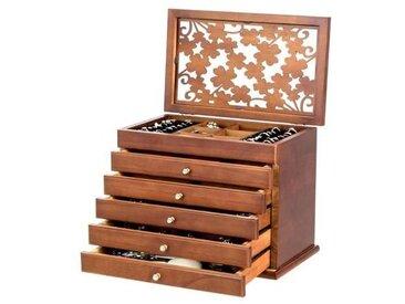 COSTWAY Boîte à Bijoux en Bois Couvercle avec Sculpture Fleur avec 5 Étages pour Bracelets, Colliers, Boucles d'Oreilles 30x19x25CM