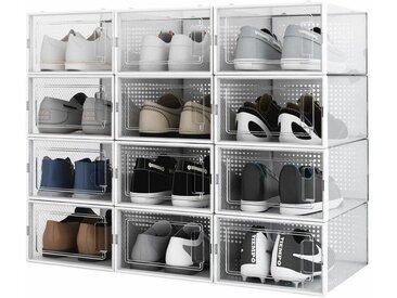 Lot de 12 Boîte à chaussures Transparentes en Plastique, Boîte Rangement Chaussures avec Couvercle, Etagère à Chaussures,S- Meerveil