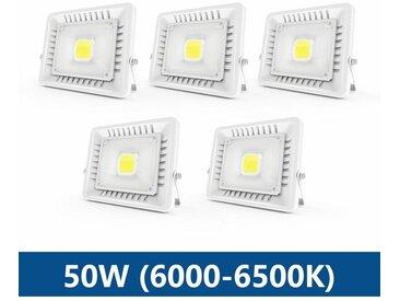 5×Anten 50W Projecteur LED IP65 Étanche Ultra-Mince Spot LED Léger Puissant Lampe pour Intérieur et Extérieur Blanc Froid 6000K (Blanc)