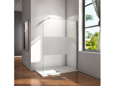Paroi de douche 140x200 cm verre satiné au central paroi de douche à l'italienne verre anticalcaire avec