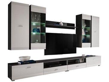 MIKO | Unité murale style contemporain 6 pcs | Éclairage LED inclus | Mur TV | Ensemble meubles salon séjour | Meuble bas TV | Gris/Blanc - Gris/Blanc