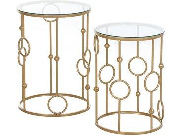 Homcom - Tables gigognes lot de 2 tables basses rondes design style art déco Ø 41 et Ø 36 cm métal doré verre trempé 5 mm