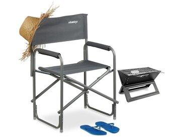 Chaise de metteur en scène avec logo chaise de camping pliable en alu 120 kg charge maximale festival pêche 120 kg, LxHxP : 85,5 x 56 x 45 cm, gris