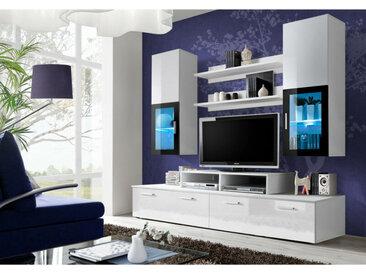 Ensemble meuble TV mural - MINI - 200 cm x 190 cm x 45 cm - Blanc - Livraison gratuite