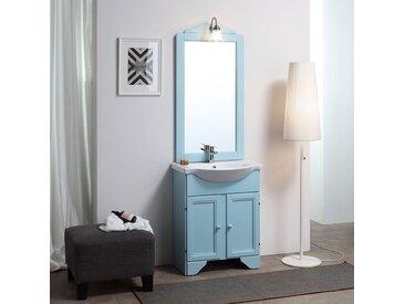 Armoire De Toilette'Décape Bleu Lavande' Cm 65 Avec Lavabo Et Lampe