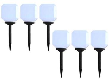 Hommoo Lampes solaires cubiques à LED d'extérieur 6 pcs 20 cm Blanc