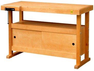 Soldes Outifrance - Etabli bois de menuisier L: 1,20m à caisson et portes coulissantes + presse