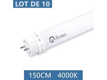 10×Anten 150CM T8 Tube LED 24W G13 Néon LED Tube Fluorescent 2400 Lumen Eclairage Plafonnier LED Blanc Neutre 4000K Starters Fournis