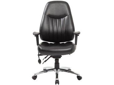 Chaise d'atelier pivotante Alpha - avec accoudoirs et habillage cuir, noir - Coloris habillage: noir