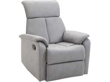 Fauteuil de relaxation grand confort pivotant 360° dossier inclinable repose-pied ajustable simili cuir tissu gris clair