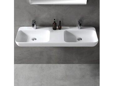 Double vasque à poser ou pour montage mural TWG203 en pierre solide (Solid Stone) - blanc mat - 120x40x12cm