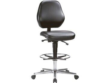 Chaise d'atelier pivotante Basic dossier à contact permanent Rembourrage simili cuir noir 650-910 mm
