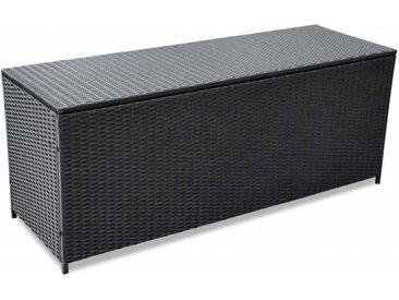 Boîte de rangement de jardin Noir 150x50x60 cm Résine tressée