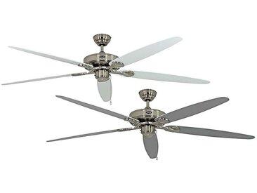 Ventilateur de plafond CLASSIC ROYAL - Ø hélice 1800 mm - laque blanche / laque gris clair / chrome brossé