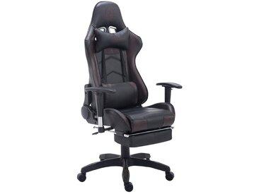 Fauteuil de bureau ergonomique dossier réglable avec repose-pieds simili-cuir noir/marron